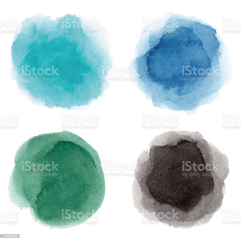 Taches aquarelles ronds multicolores - Illustration vectorielle