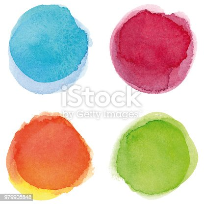 Set of blue, wine red, orange, green vectorized round watercolor splashes.