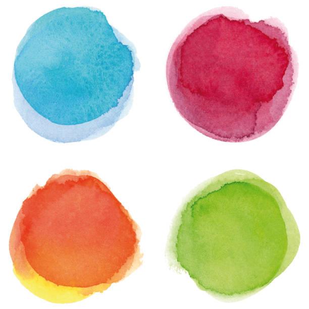 라운드 다 색된 수채화 명소 - 수채화 stock illustrations