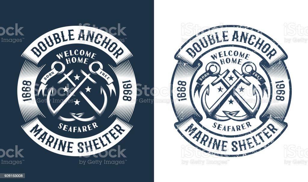 Round nautical icon vector art illustration