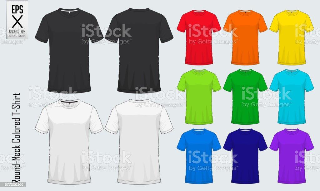 Rundhals Tshirt Vorlagen Reihe Von Farbigen Shirt Mockup Im ...