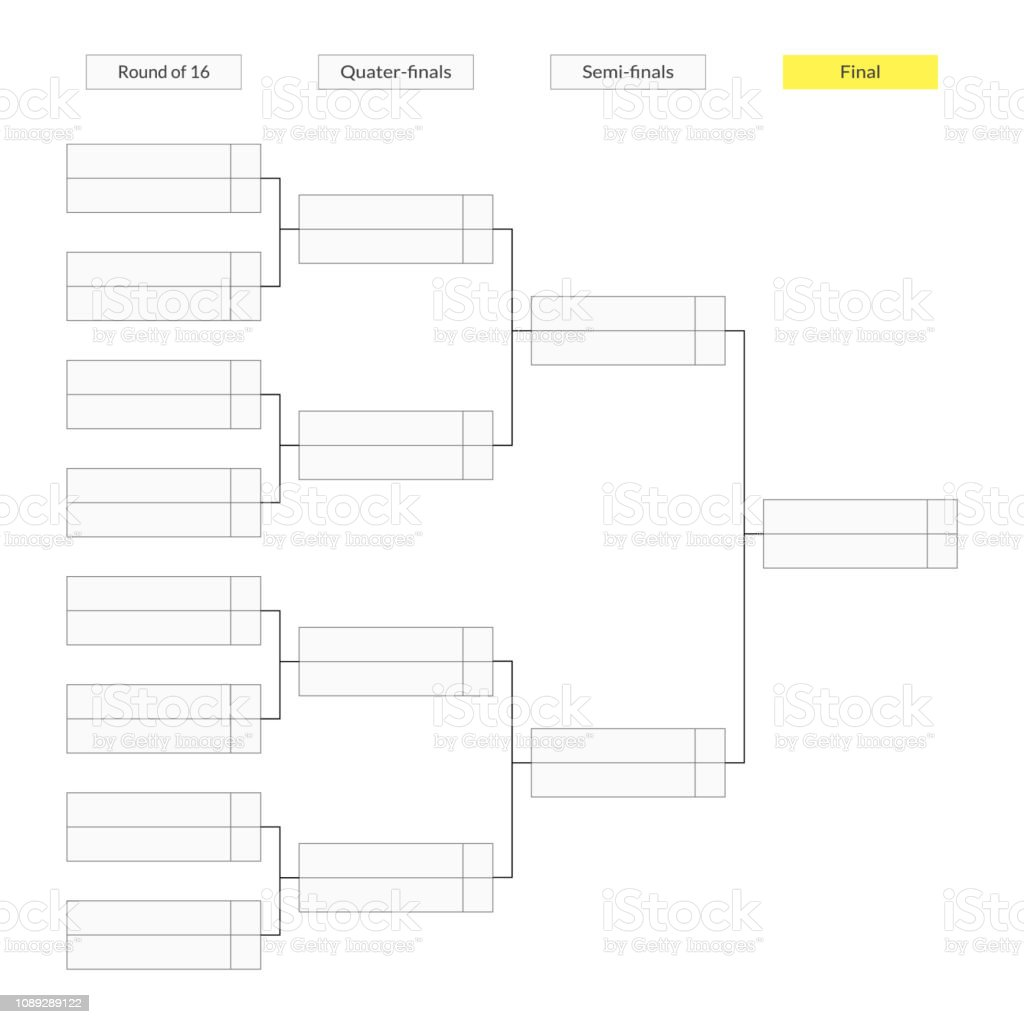 Round Of 16 Tournament Bracket Template For Infographics Stock