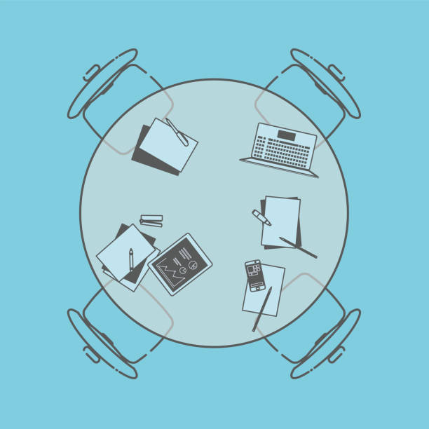 illustrazioni stock, clip art, cartoni animati e icone di tendenza di round office table on blue background - business meeting, table view from above