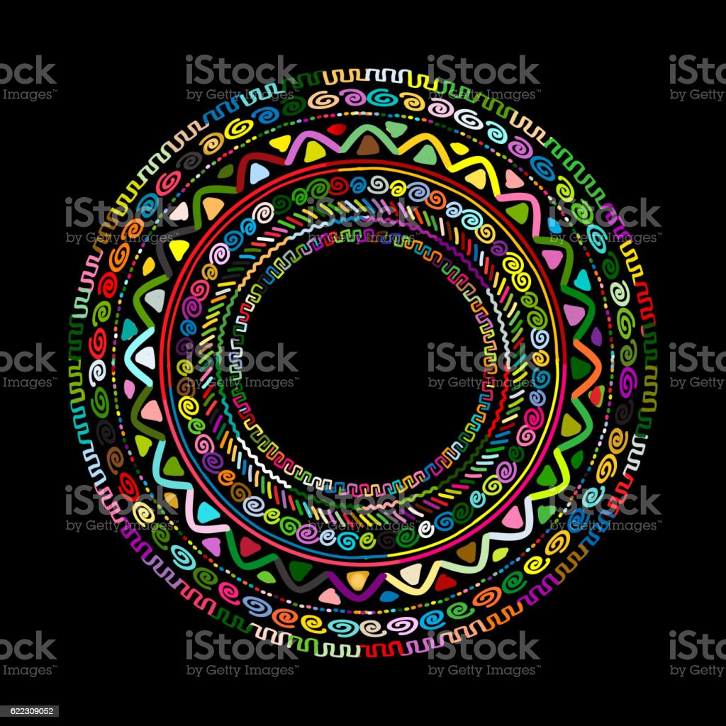Round ornament design, ethnic mandala - Illustration vectorielle