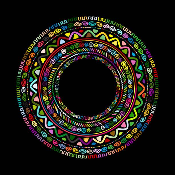 Round ornament design, ethnic mandala - ilustração de arte em vetor