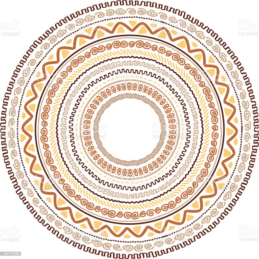 Round ornament design, ethnic style royalty-free stock vector art