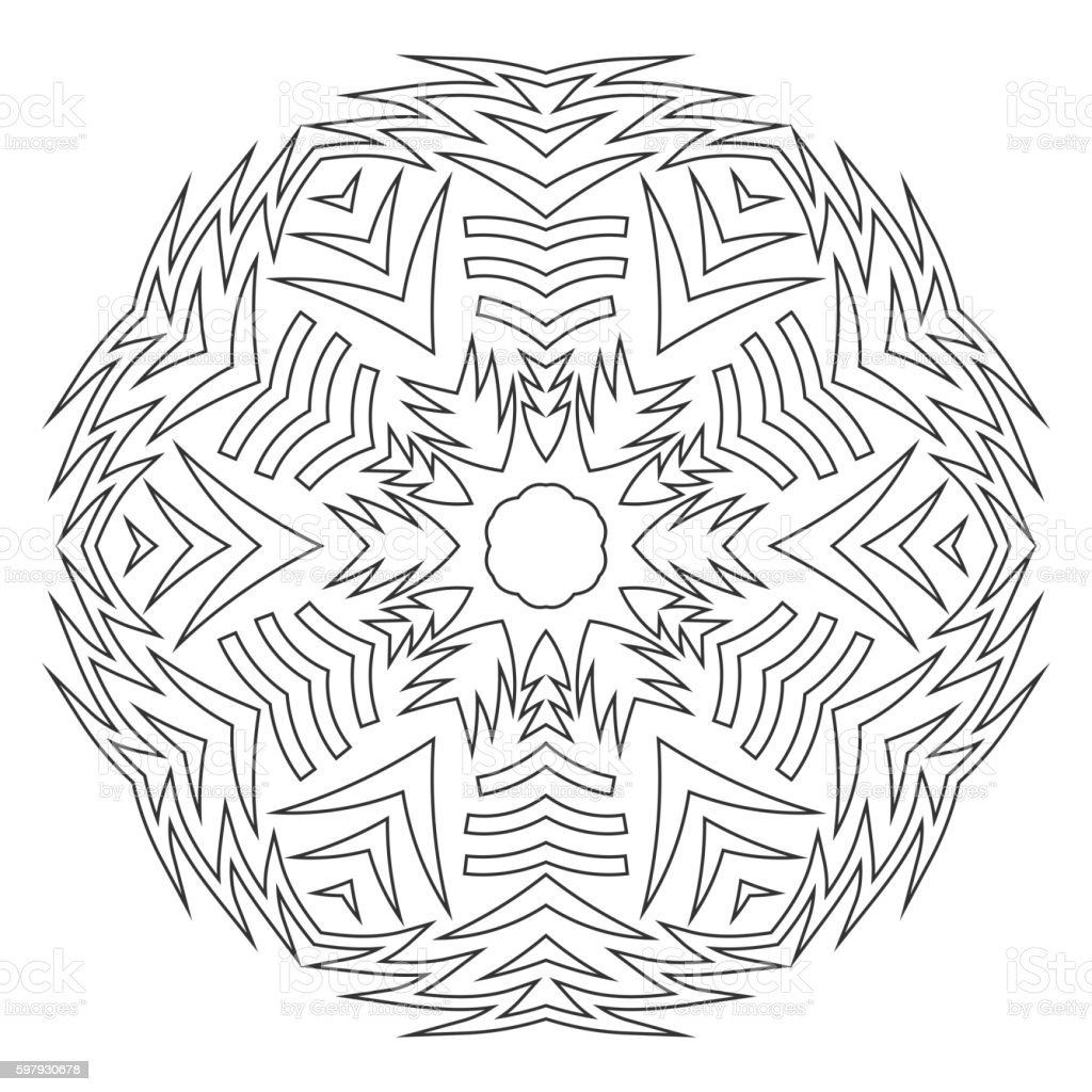 Round Ornament For Coloring Books Black White Pattern Lace ...