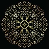 istock Round ornament golden line art mandala. Luxury metallic illustration 1315466127