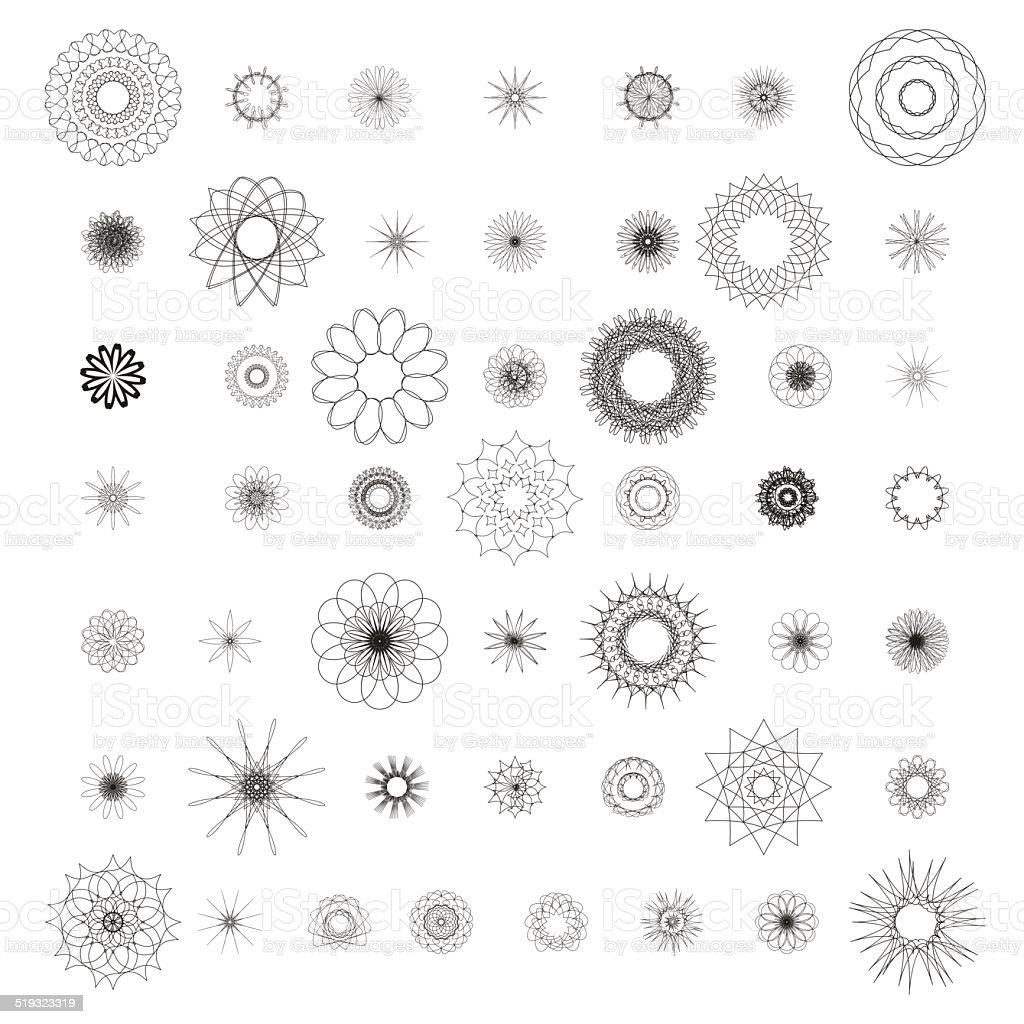 Round ornament set, spirograph vector art illustration