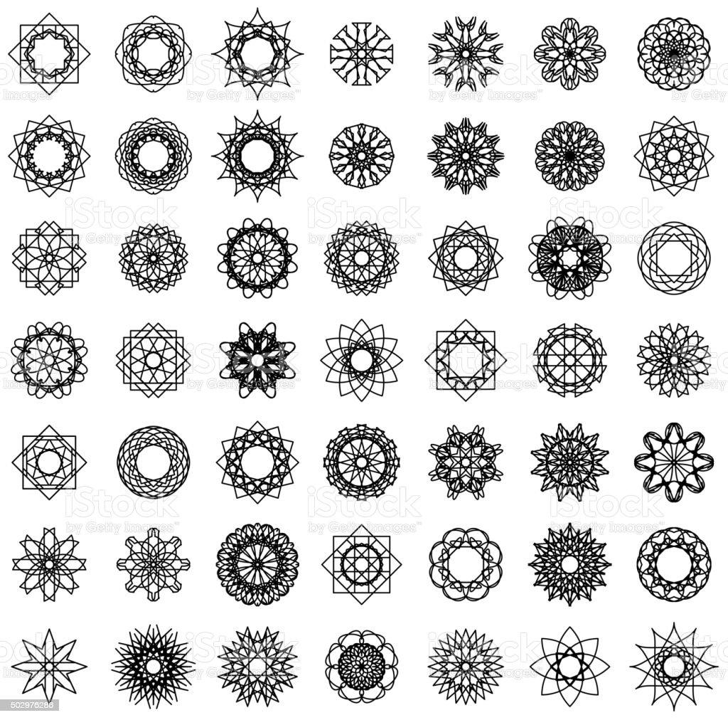 Round Ornament Set vector art illustration