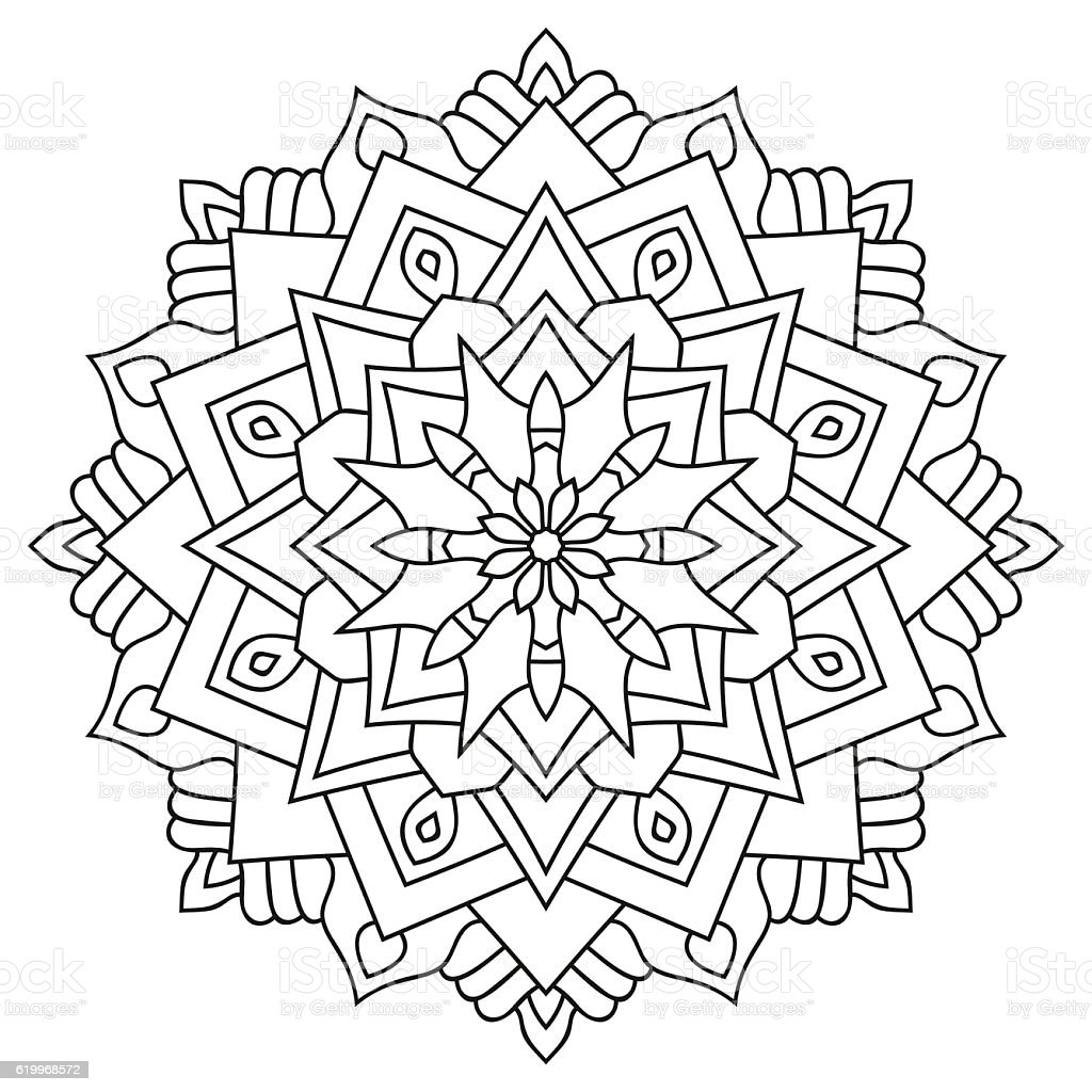 outline mandala for coloring book vintage decorative