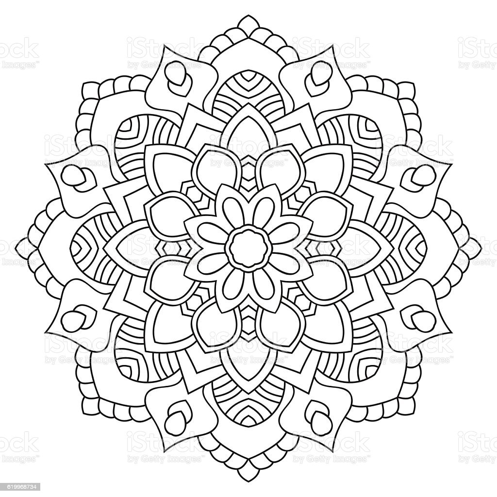 Round Outline Mandala For Coloring Book Vintage Decorative ...