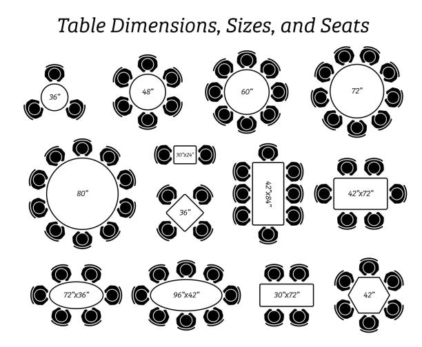 ilustrações de stock, clip art, desenhos animados e ícones de round, oval, and rectangular table dimensions, sizes, and seating. - chair