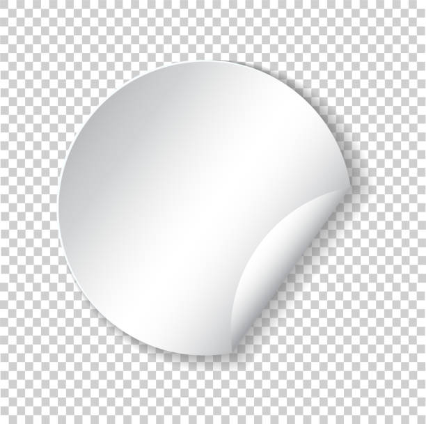 round paper sticker template with bent edge with translucent shadow. element for advertising and promotional message isolated on transparent background. web banner. vector illustration for your design - skórka stock illustrations