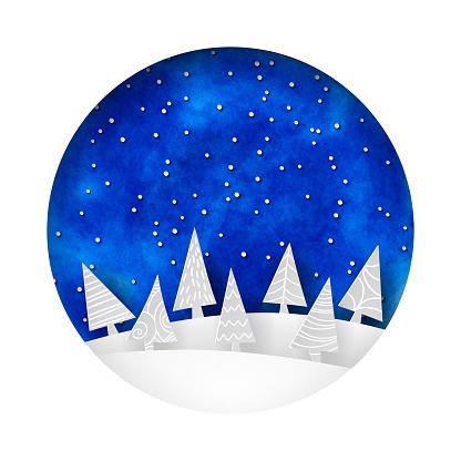 Round papercut Christmas scene