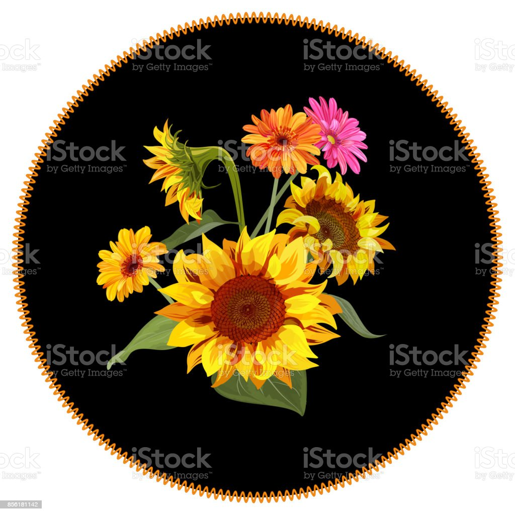 round patch with bouquet yellow sunflower orange pink gerbera