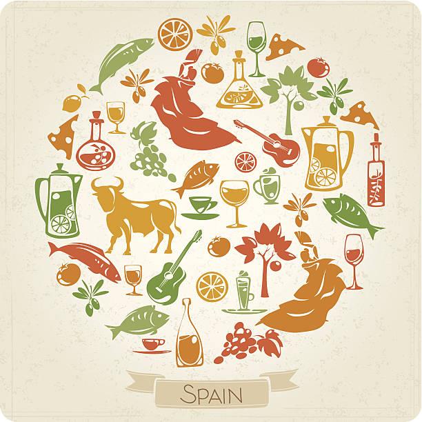 ilustraciones, imágenes clip art, dibujos animados e iconos de stock de moldura redonda con españa elementos temáticos - comida española