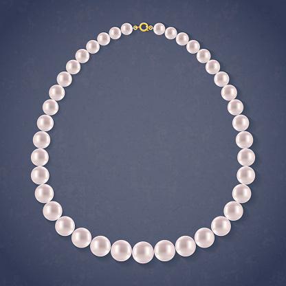 Round Pearls Necklace on dark background.
