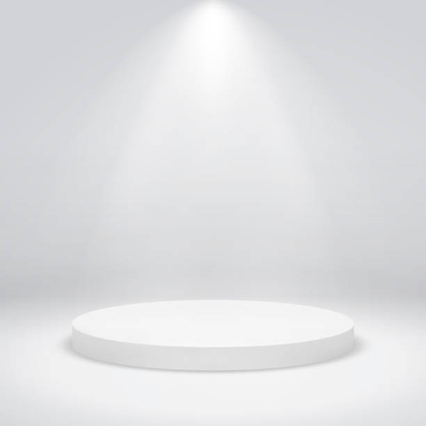 Round pedestal. Winner podium champion circular base first place trophy award win, mockup empty white stair Round pedestal. Winner podium champion circular base first place trophy award win, mockup empty white stair, vector design studio stock illustrations