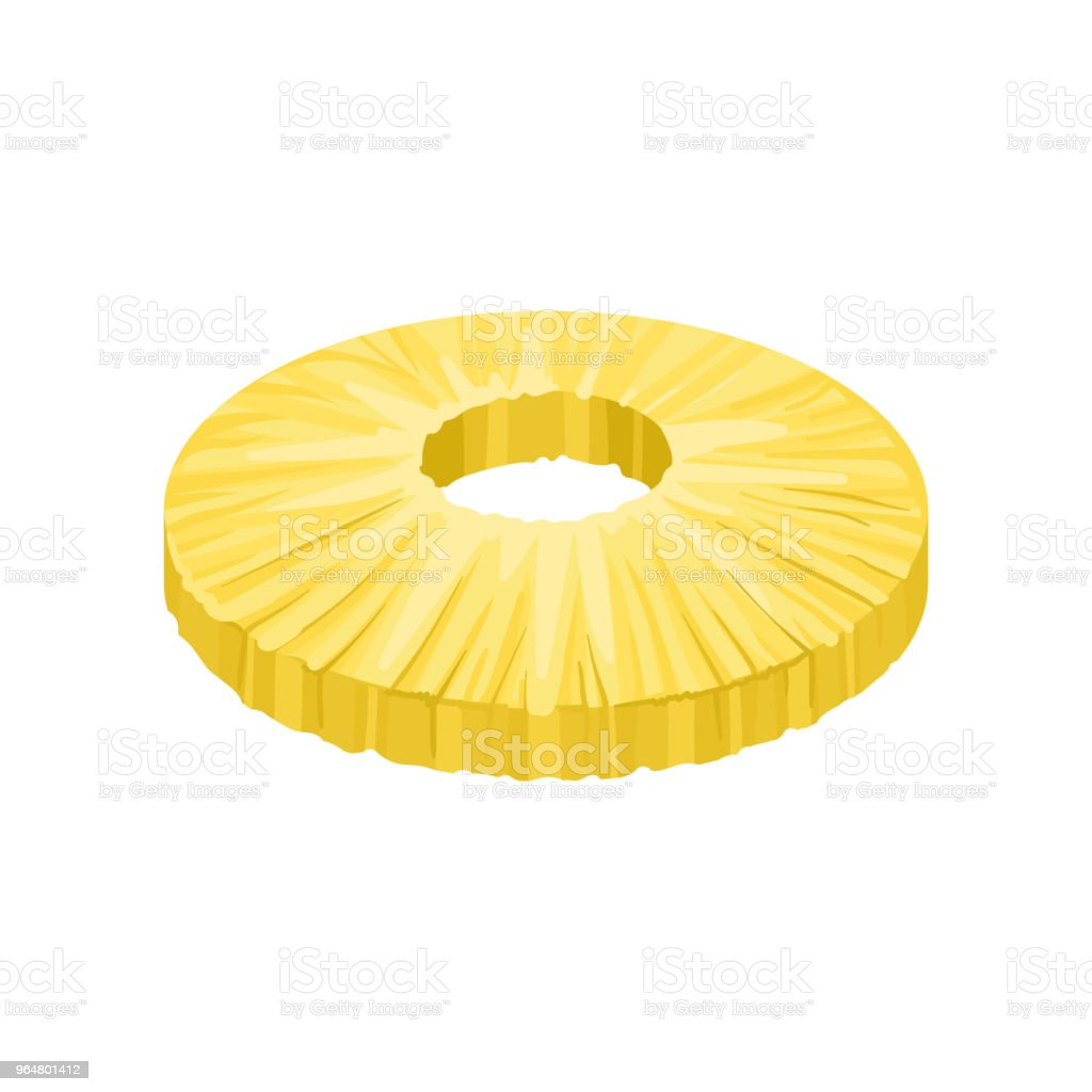 Round peeled slice of sweet pineapple. Fresh and tasty tropical fruit. Detailed flat vector element for juice or yogurt packaging royalty-free round peeled slice of sweet pineapple fresh and tasty tropical fruit detailed flat vector element for juice or yogurt packaging stock vector art & more images of cartoon