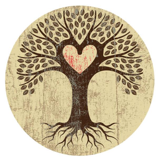 Round peeling paint heart tree vector art illustration