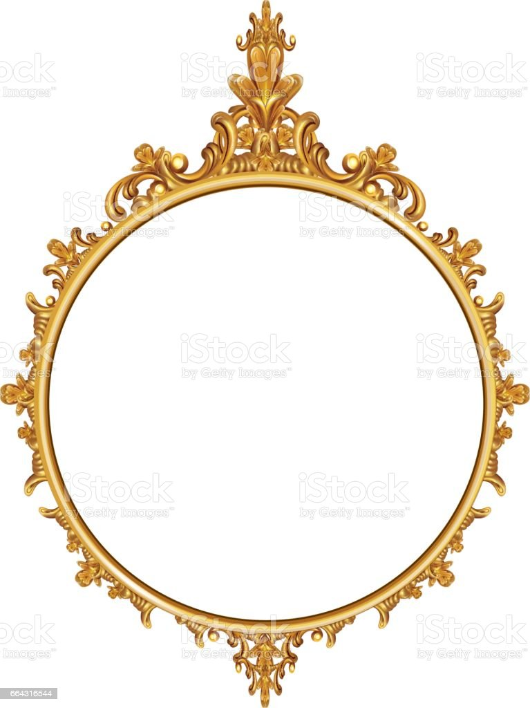 Round Photo Frame Metal Gold Interi Pattern Vector Stock Vector Art ...