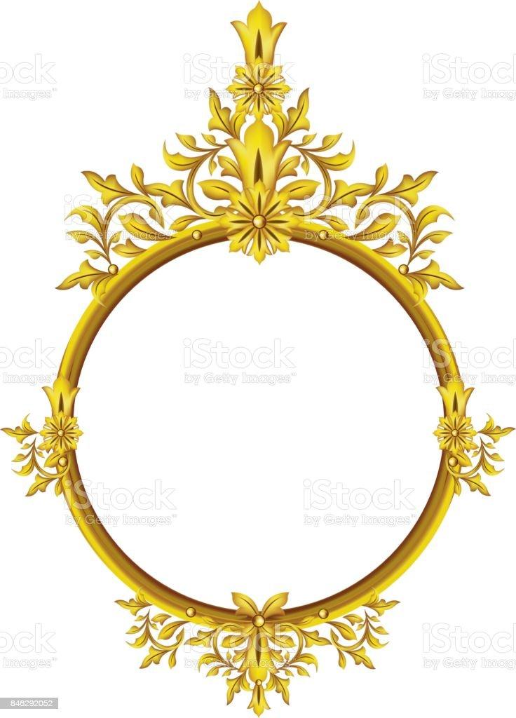 Runde Bilderrahmen Metall Gold Innere Muster Vektor Stock Vektor Art ...
