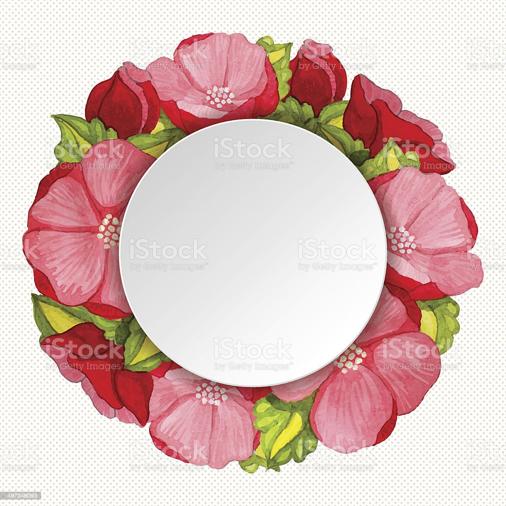 Round Pink Peony Flowers Vintage Frame Stock Vector Art More