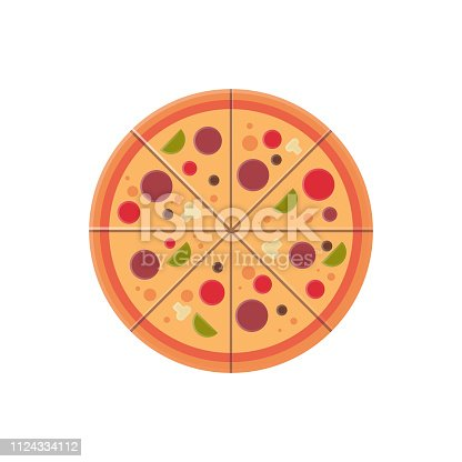 round pizza slices icon fast food menu concept isolated over white background flat vector illustration