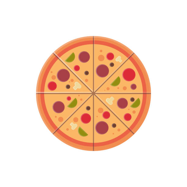 round pizza slices icon fast food menu concept isolated over white background flat round pizza slices icon fast food menu concept isolated over white background flat vector illustration pastry dough stock illustrations