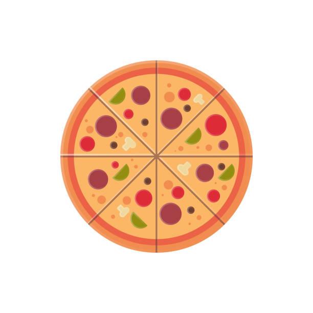 illustrations, cliparts, dessins animés et icônes de pizza ronde tranches icône restauration rapide menu concept isolé sur fond blanc plat - pizza