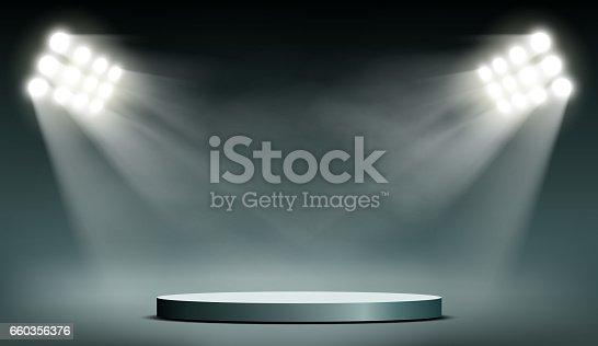 Round podium illuminated by searchlights. Stock vector illustration.