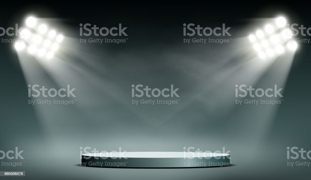 Round podium illuminated by searchlights. vector art illustration