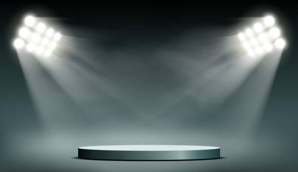Round podium illuminated by searchlights. vector art illustration