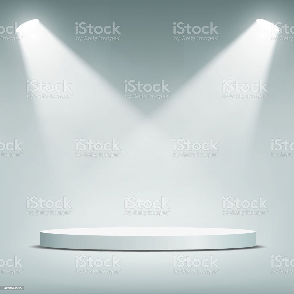 Round podium illuminated by spotlights. vector art illustration