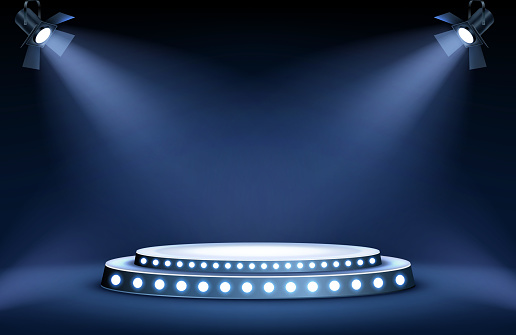 Round podium stage in spotlights rays, realistic