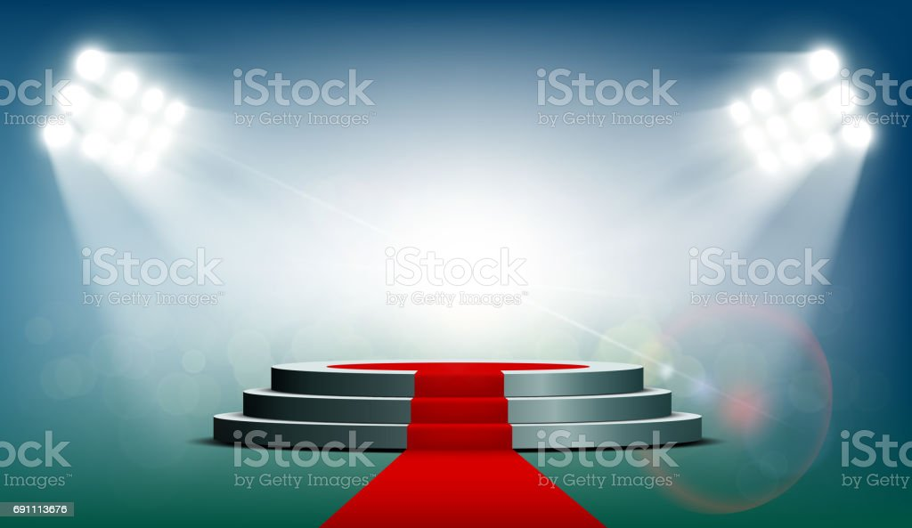 Round podium with a red carpet vector art illustration