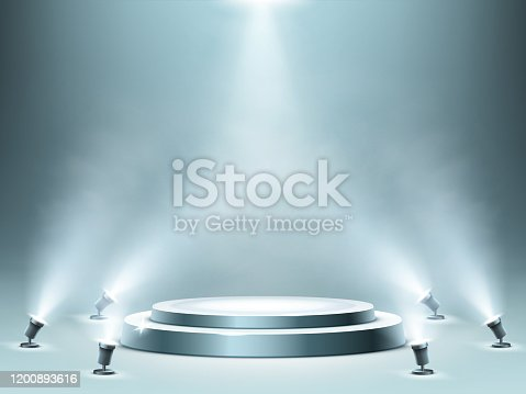 Round podium with smoke effect and spotlight illumination, empty stage for award ceremony, product presentation or fashion show performance, pedestal in nightclub. Realistic 3d vector illustration