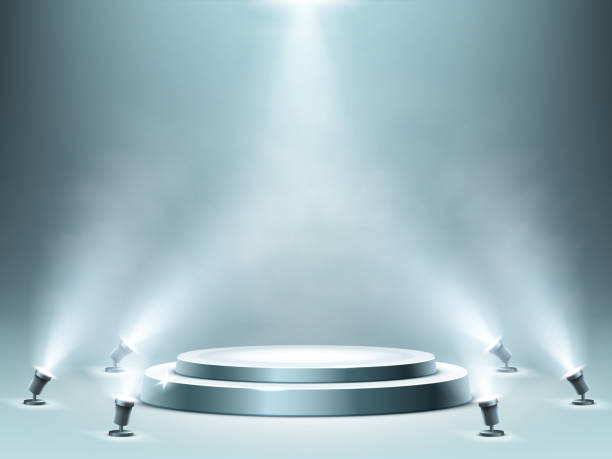 Round podium with smoke effect and spotlights Round podium with smoke effect and spotlight illumination, empty stage for award ceremony, product presentation or fashion show performance, pedestal in nightclub. Realistic 3d vector illustration spot lit stock illustrations