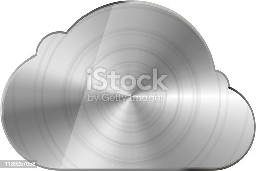 Round polished bright glossy metal cloud icon on white