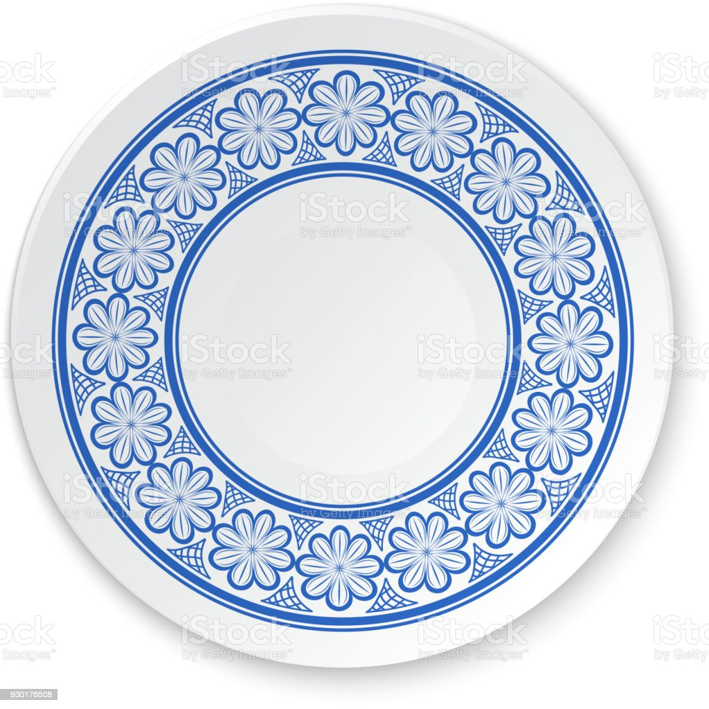 Round Porcelain Plate On A Painting Of A Blue Flowers On A White ...