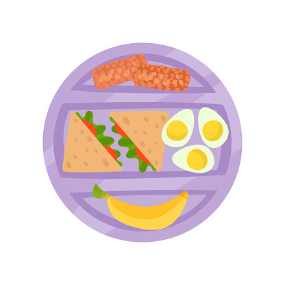 Round purple lunch box with sandwiches, boiled eggs, banana and chocolate desserts. Appetizing meal. Flat vector icon