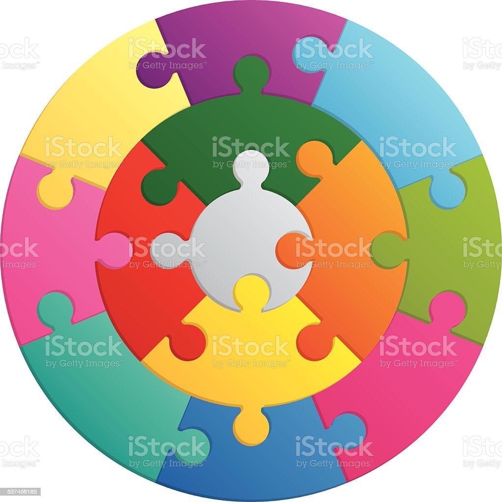 Round puzzle - 13 parts vector art illustration