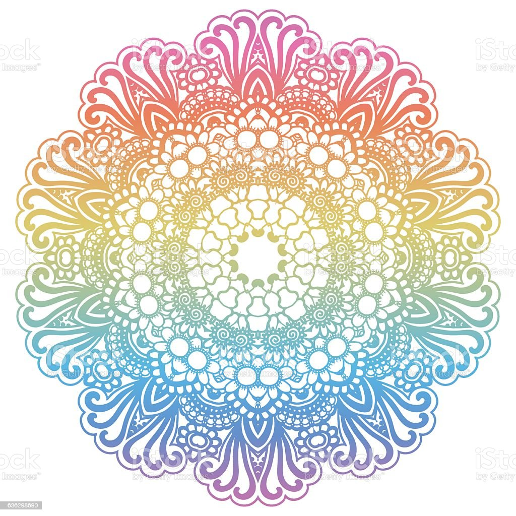 round rainbow mandala background stock vector art more images of abstract 636298690 istock. Black Bedroom Furniture Sets. Home Design Ideas