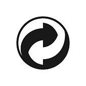 istock Round recycling symbol, Two arrows in a ying-yang pattern 1268258059