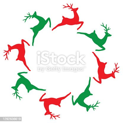 istock Round Red And Green Reindeer Frame 1292636619