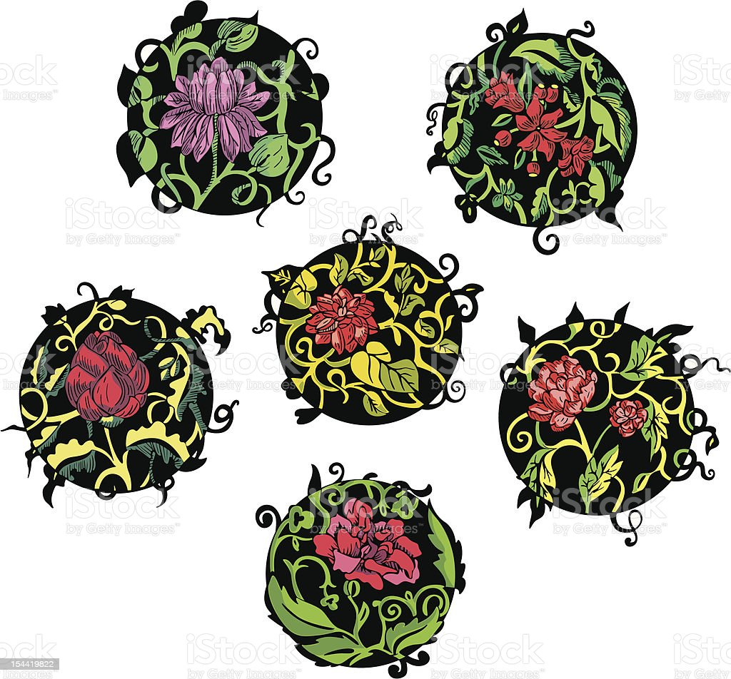 Round red flower designs royalty-free stock vector art