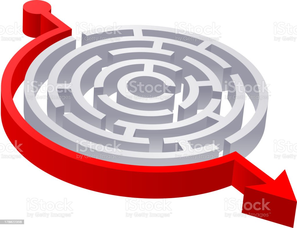 3D Round Red Solved Maze royalty-free stock vector art