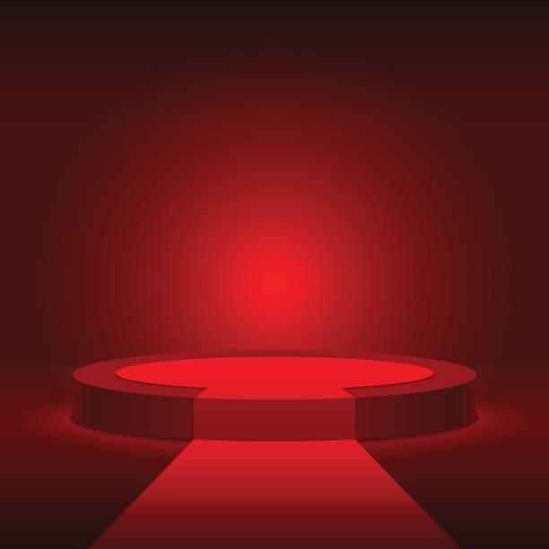 ラウンド レッド ステージの表彰台。レッド カーペットでのシーン。 - ステージ点のイラスト素材/クリップアート素材/マンガ素材/アイコン素材