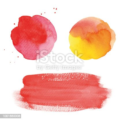 istock Round red watercolor spots and banner 1061880008